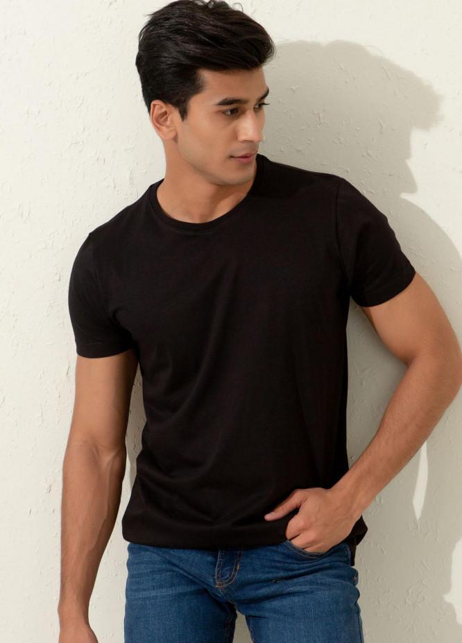 Brumano Cotton Formal Men T-Shirts -  Basic Black Crew Neck T-shirt