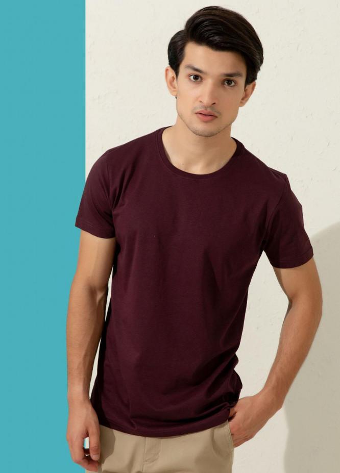 Brumano Cotton Formal Men T-Shirts -  Basic Purple Crew Neck T-shirt