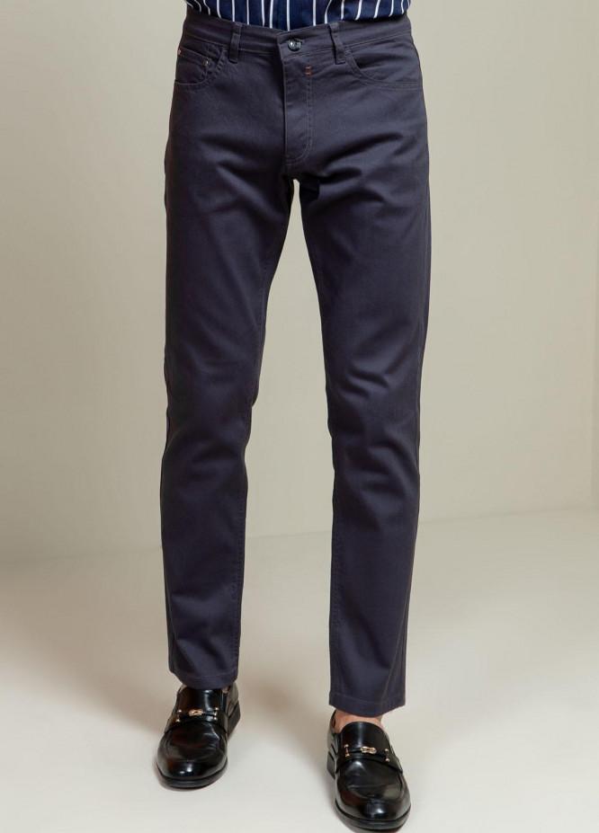 Brumano Cotton Casual Trousers for Mens - Blue Grey Slub Five Pocket Slim Fit Trouser