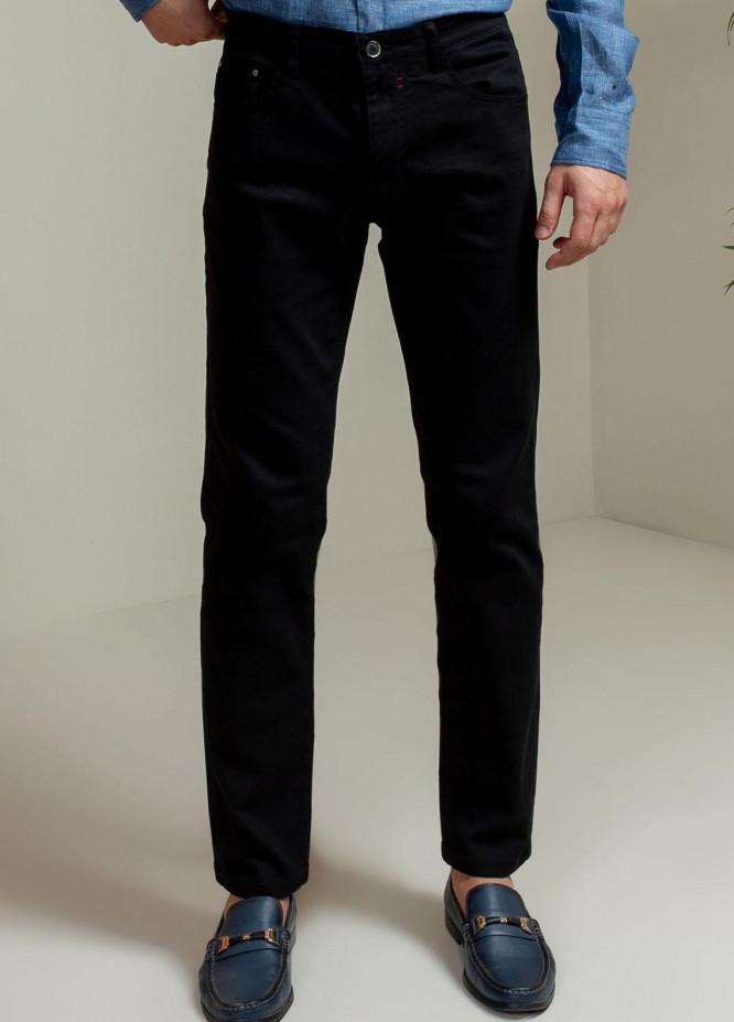 Brumano Cotton Casual Mens Trousers - Blue Black Slub Five Pocket Slim Fit Trouser