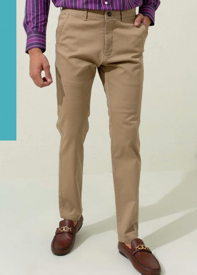 Brumano Cotton Casual Mens Trousers - Blue Khaki Twill Chino