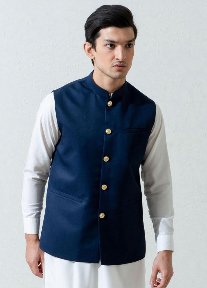 Brumano Cotton Viscose Formal Waistcoat for Men -  Navy Blue Formal Twill