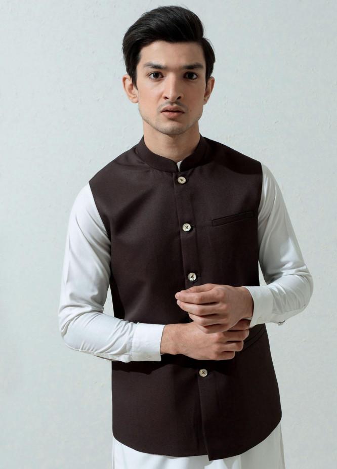 Brumano Cotton Viscose Formal Waistcoat for Men -  Dark Brown Formal Twill