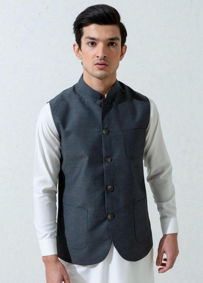 Brumano Cotton Formal Men Waistcoat -  Dark Grey Melange