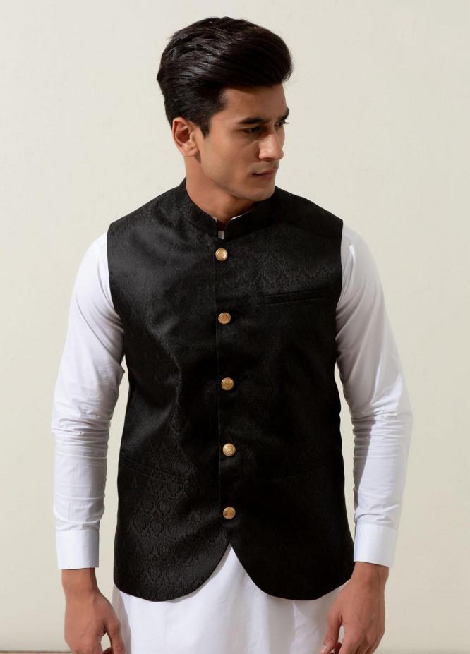 Brumano Polyester Formal Waistcoat for Men -  Black Floral Patterned