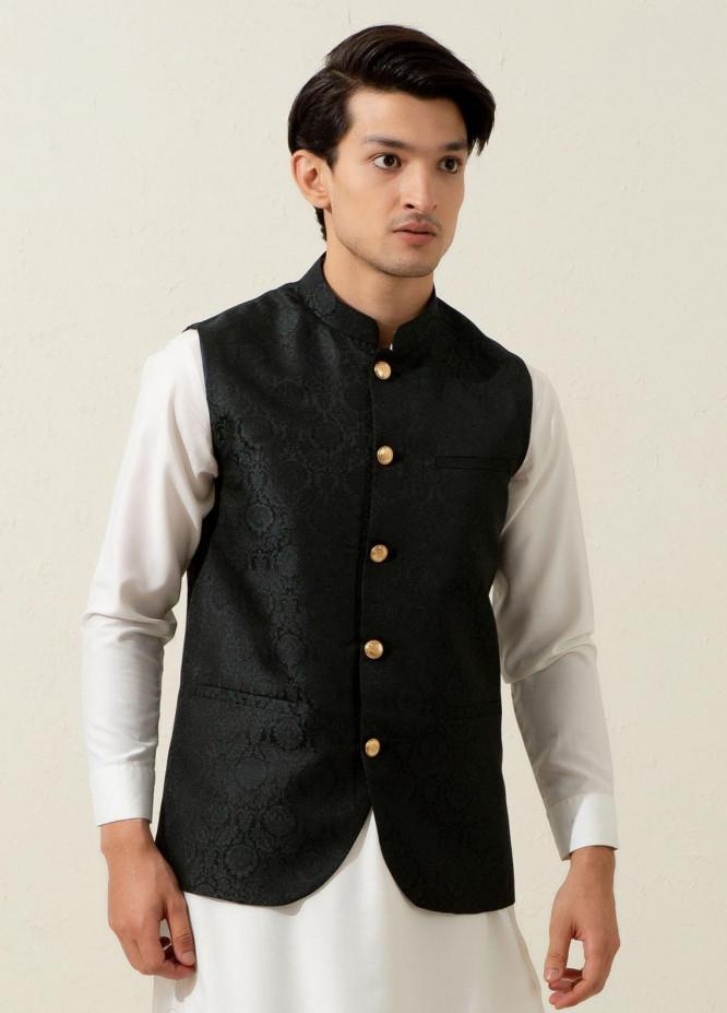 Brumano Polyester Formal Waistcoat for Men -  Green Floral Patterned