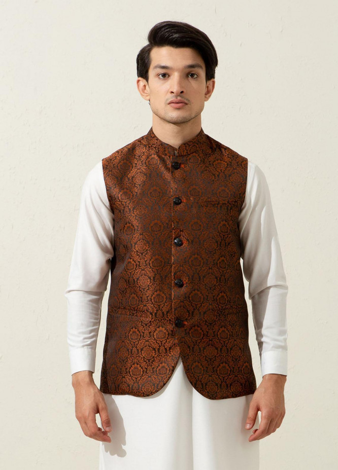 Brumano Polyester Luxury Waistcoat for Men - Rusty Orange BRM-1338