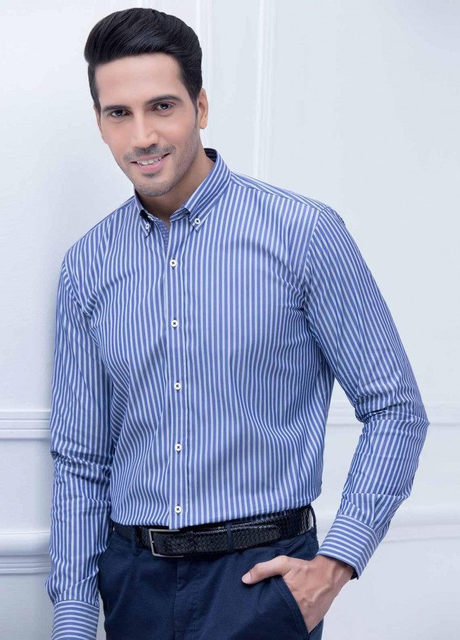 Brumano Cotton Formal Shirts for Men -  BM20LS Blue Striped Shirt With Detailing