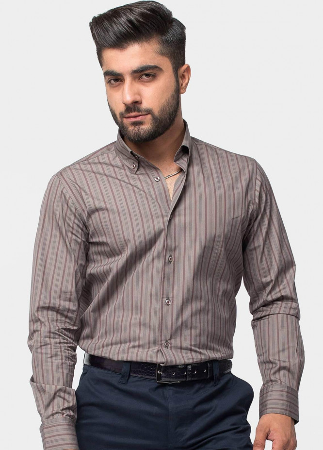 Brumano Cotton Formal Men Shirts -  BM20LS Umber Brown Striped Shirt