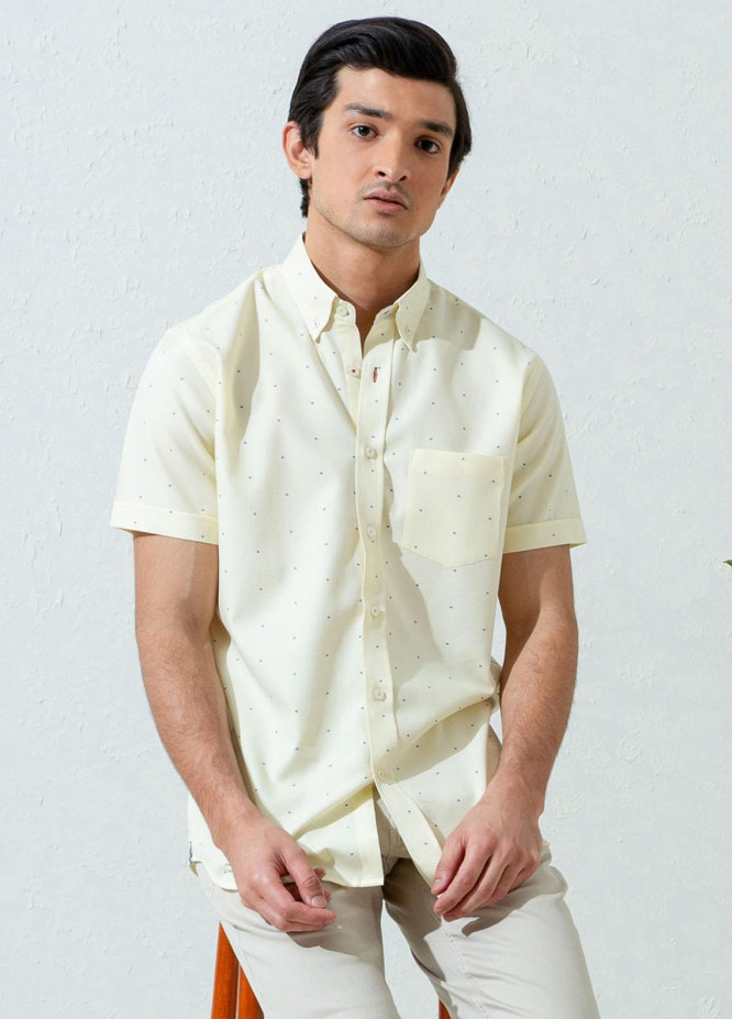 Brumano Cotton Half Sleeves Casual Men Shirts -  BM21SH Yellow Structured Fil Coupe