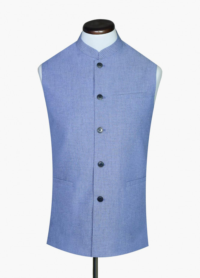 Brumano Cotton Formal Waistcoat for Men -  BM20WC Blue Houndstooth Waistcoat