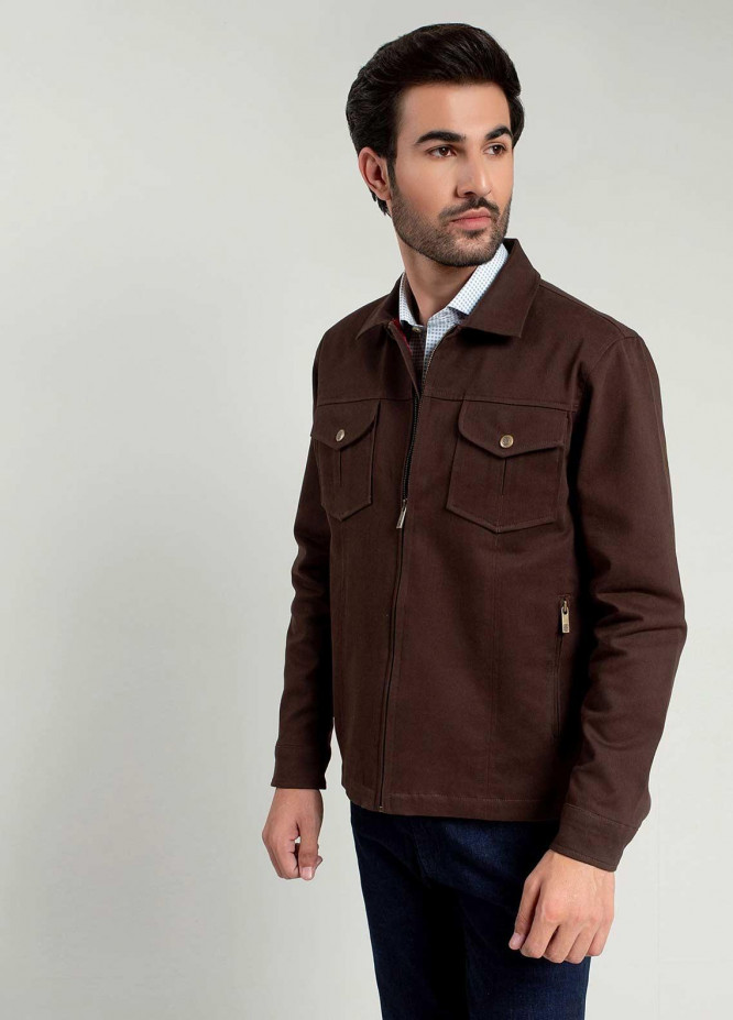 Brumano Polyester Full Sleeves Jackets for Men -  BM20WJ Dark Brown Casual Jacket