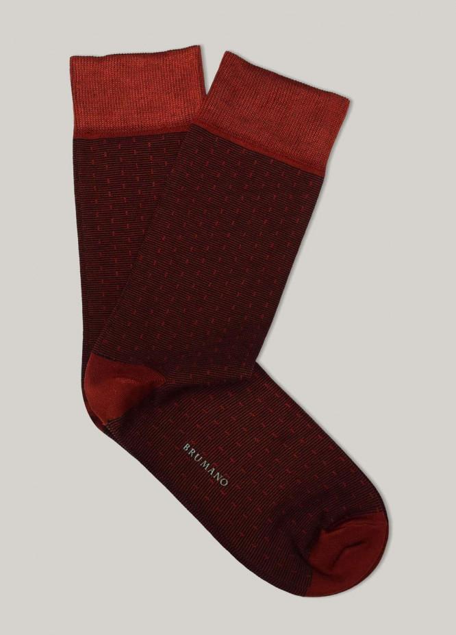 Brumano Cotton Socks Maroon Dobby Striped Mercerized