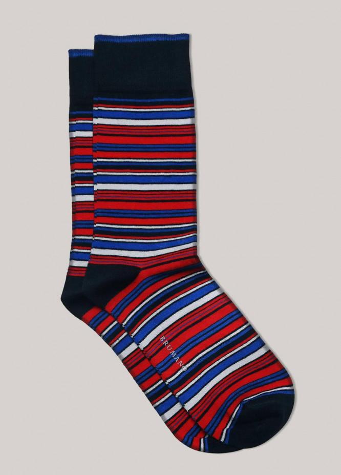 Brumano Cotton Socks Red Multi Color Striped Cotton