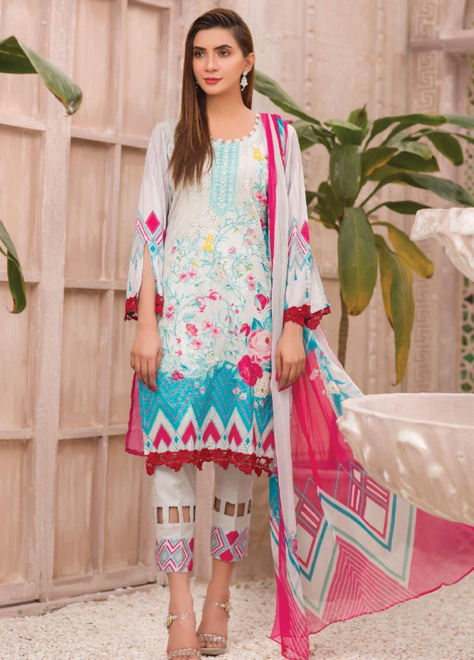 Change Embroidered Lawn Suits Unstitched 3 Piece CG21SR D-19 - Summer Collection