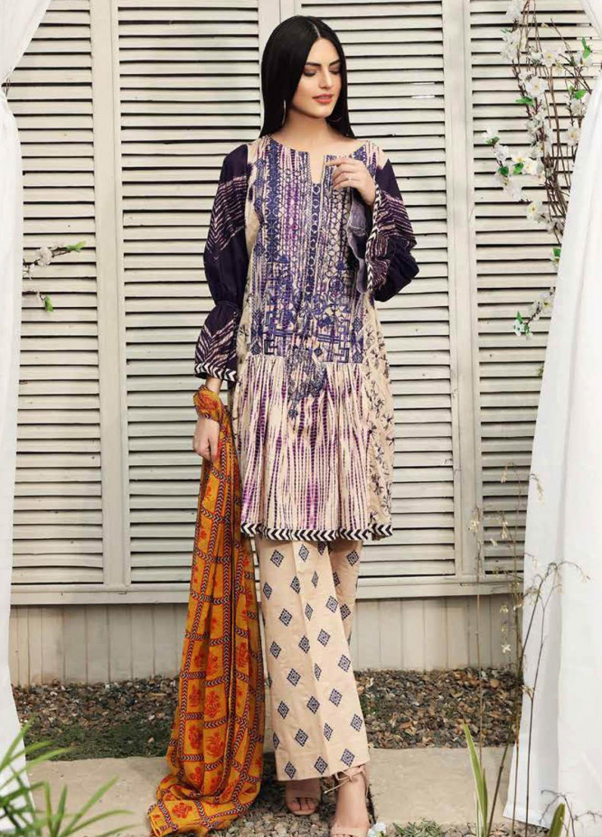 Charizma Embroidered Lawn Suits Unstitched 3 Piece CRZ21IF IN-29-A - Summer Collection