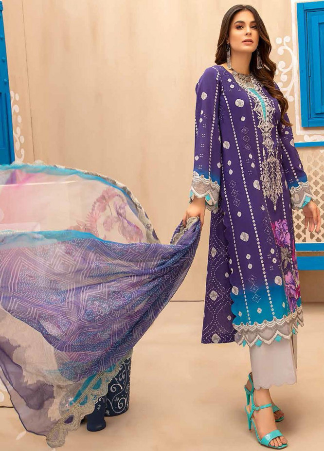 Chunri By Charizma Embroidered Lawn Suits Unstitched 3 Piece CRZ21CH 08 - Luxury Collection
