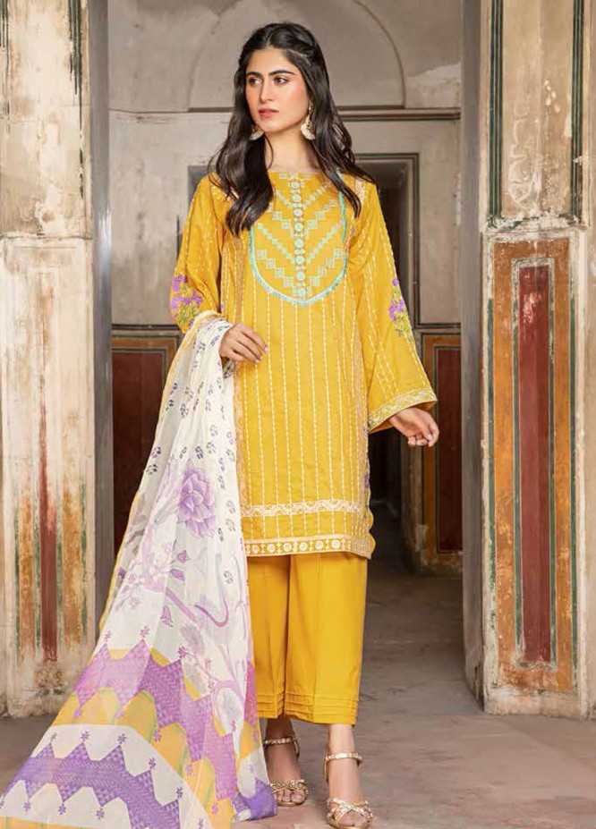 Charizma Embroidered Lawn Suits Unstitched 3 Piece CRZ21LS CSL-12 - Summer Collection