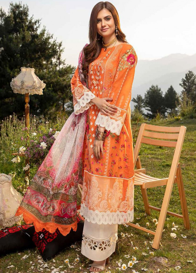 Charizma Embroidered Lawn Suits Unstitched 3 Piece CRZ21SM ED-13 - Festive Collection