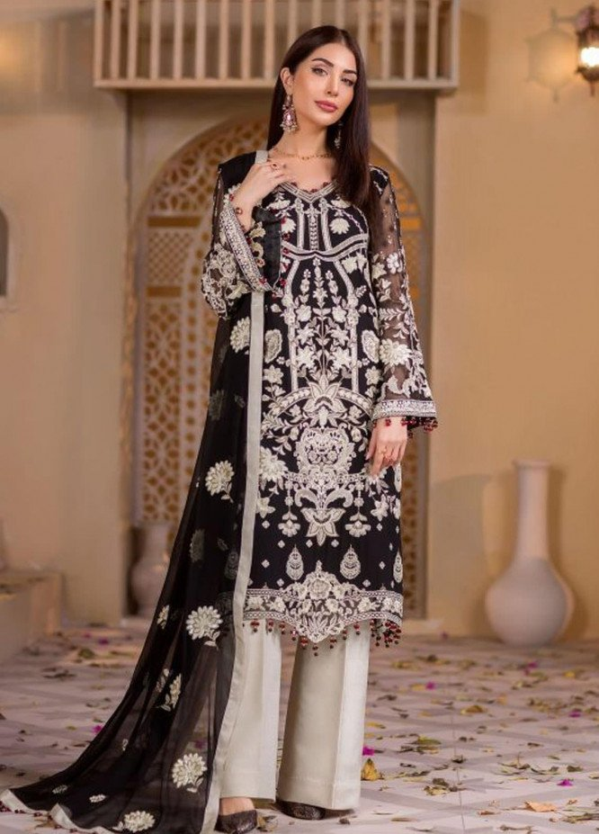 Chashme Baddoor by Flossie Embroidered Chiffon Unstitched 3 Piece Suit FL20CB 610 La Foret - Luxury Formal Collection
