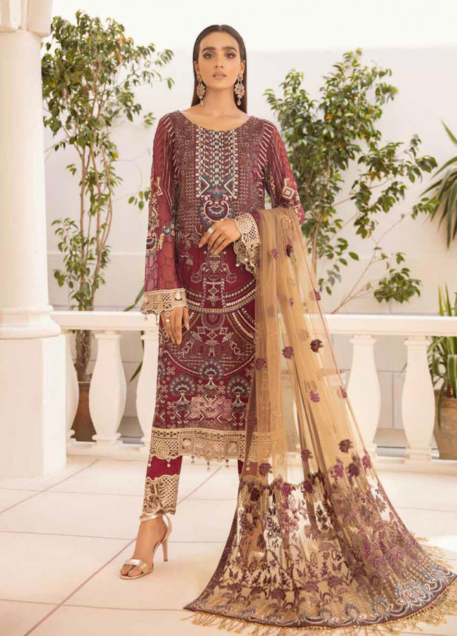 Chevron by Ramsha Embroidered Chiffon Suits Unstitched 3 Piece RSH21CH-4 A-401 - Formals Collection