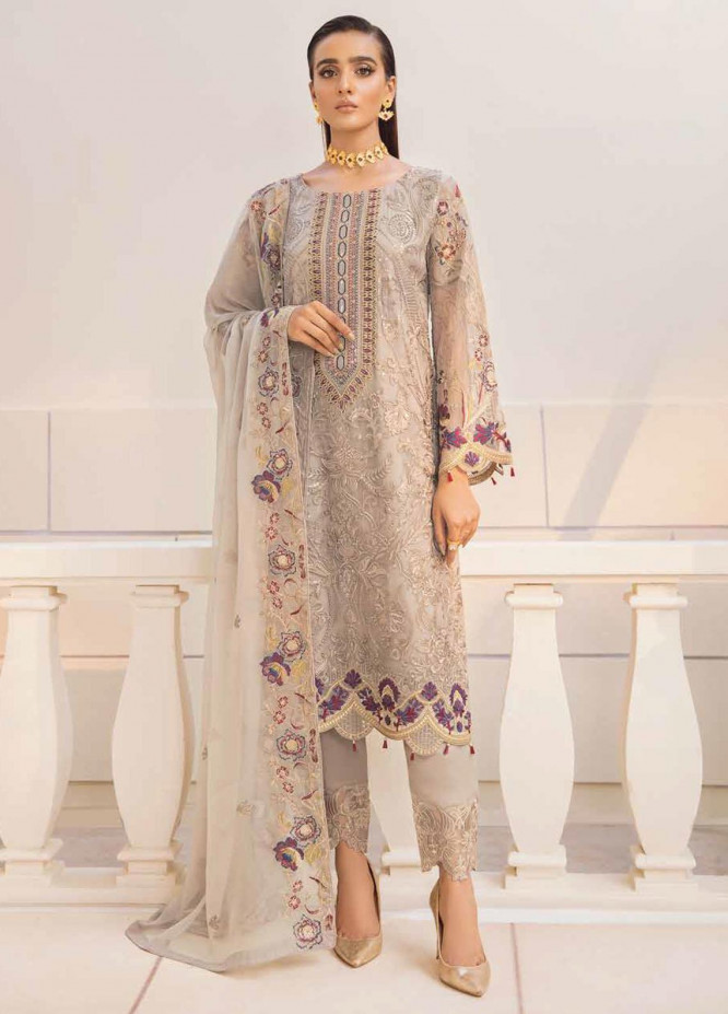 Chevron by Ramsha Embroidered Chiffon Suits Unstitched 3 Piece RSH21CH-4 A-404 - Formals Collection