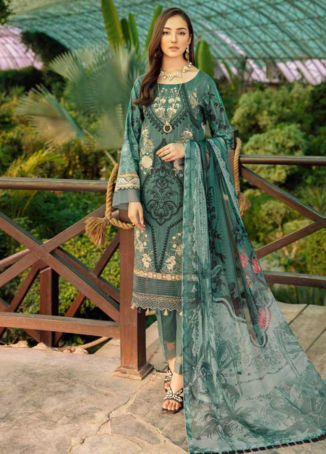 Chevron by Ramsha Embroidered Lawn Suits Unstitched 3 Piece RSH21-CH5 505 - Luxury Collection