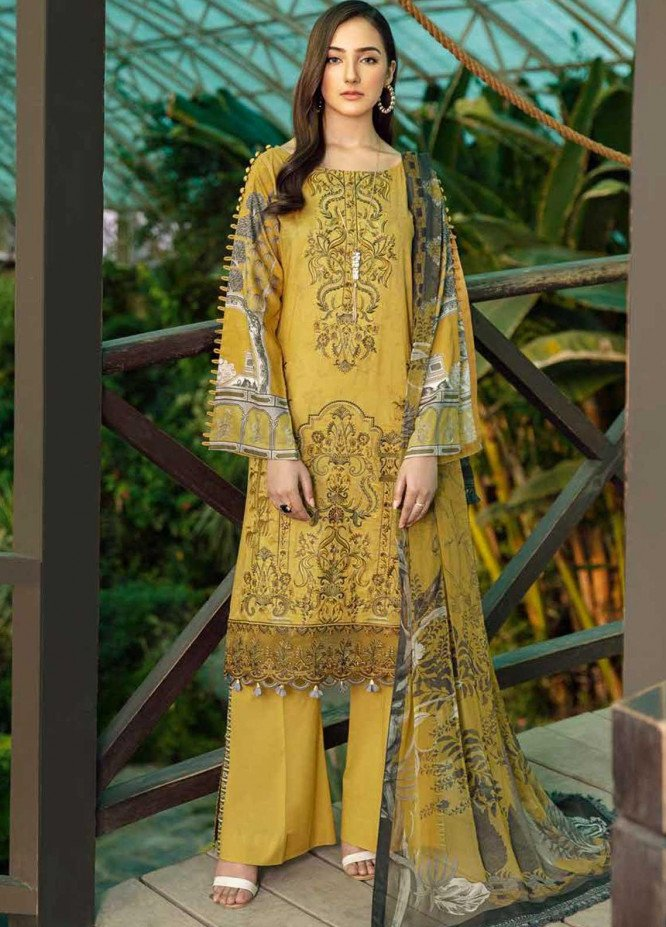 Chevron by Ramsha Embroidered Lawn Suits Unstitched 3 Piece RSH21-CH5 506 - Luxury Collection