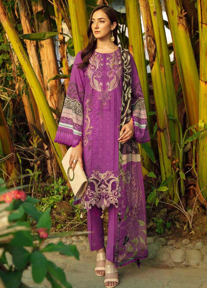 Chevron by Ramsha Embroidered Lawn Suits Unstitched 3 Piece RSH21-CH5 508 - Luxury Collection