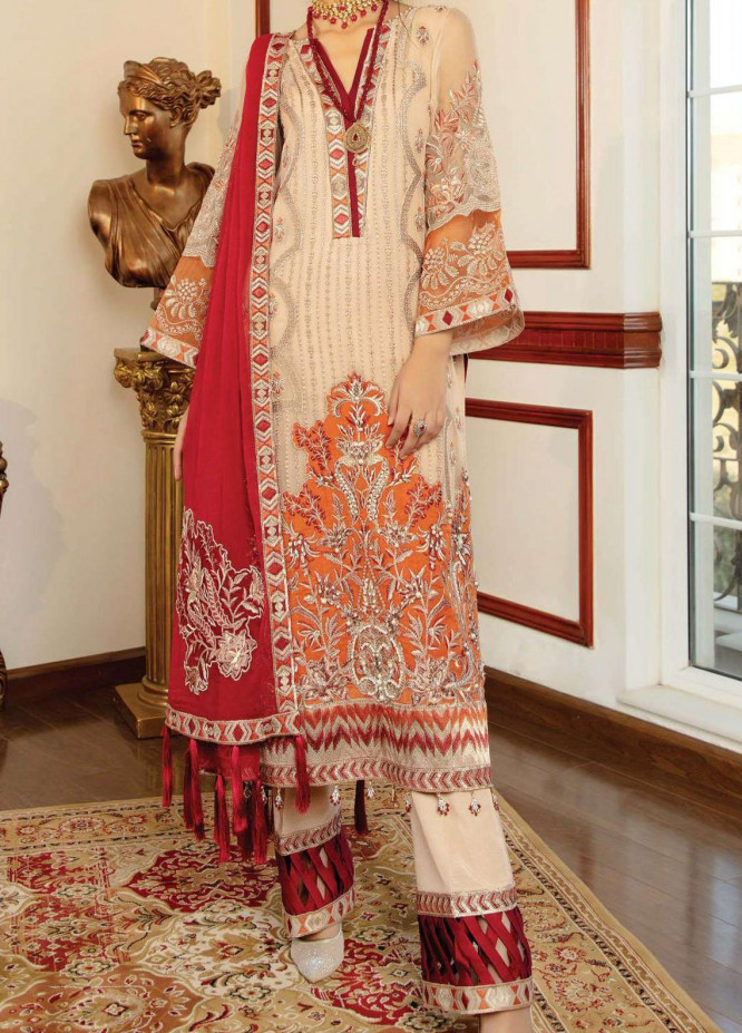 Chimere by Serene Embroidered Chiffon Unstitched 3 Piece Suit SP21C 1027 Beige Opulence - Premium Collection