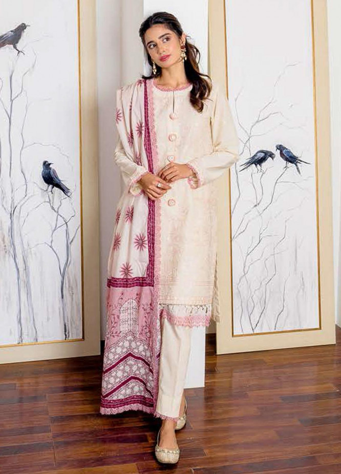 Ciara By Cross Stitch Embroidered Cambric Suits Unstitched 3 Piece CS21C 02 ROSY DEW - Premium Collection