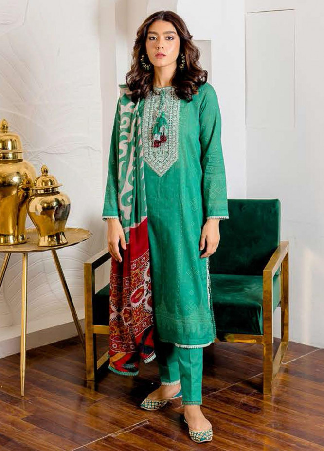 Ciara By Cross Stitch Embroidered Cambric Suits Unstitched 3 Piece CS21C 05 ASTER AZURE - Premium Collection