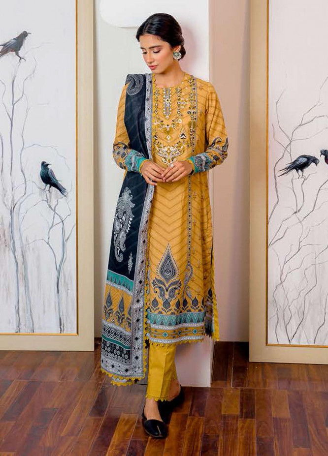 Ciara By Cross Stitch Embroidered Cambric Suits Unstitched 3 Piece CS21C 07 MUSTARD SHADOW - Premium Collection