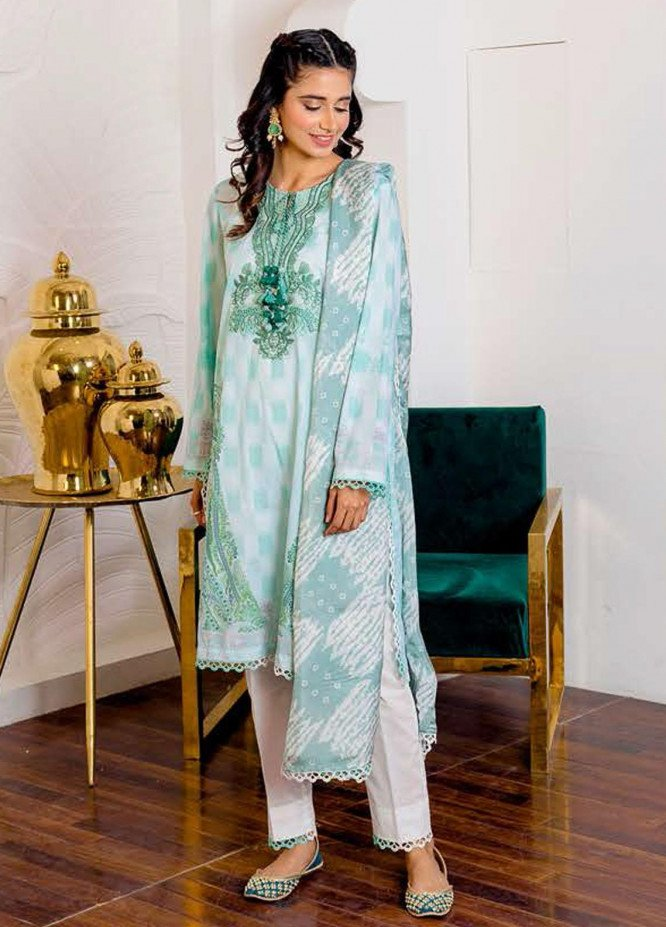 Ciara By Cross Stitch Embroidered Cambric Suits Unstitched 3 Piece CS21C 08 PASTEL ORCHID - Premium Collection