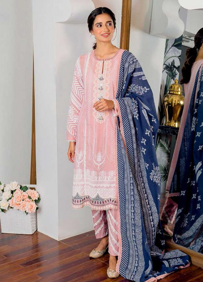 Ciara By Cross Stitch Embroidered Cambric Suits Unstitched 3 Piece CS21C 10 VIVID PEACH - Premium Collection