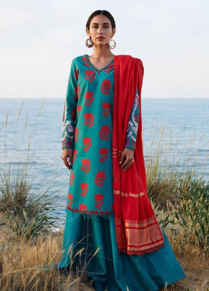Coco By Zara Shahjahan Embroidered Lawn Suits Unstitched 3 Piece CZS21L 02B - Luxury Collection