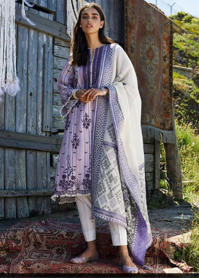 Coco By Zara Shahjahan Embroidered Lawn Suits Unstitched 3 Piece CZS21L 03B - Luxury Collection