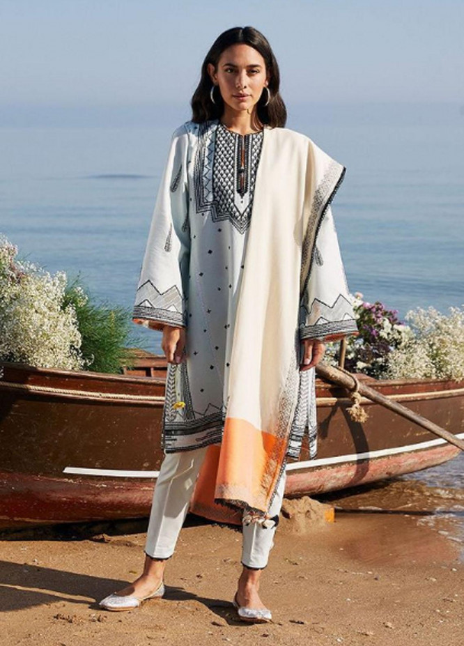 Coco By Zara Shahjahan Embroidered Lawn Suits Unstitched 3 Piece CZS21L 07B - Luxury Collection