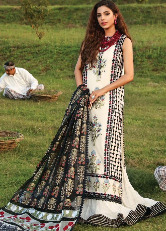 Crimson by Saira Shakira Embroidered Lawn Suits Unstitched 3 Piece CR21LS 8A-IVORY - Luxury Collection