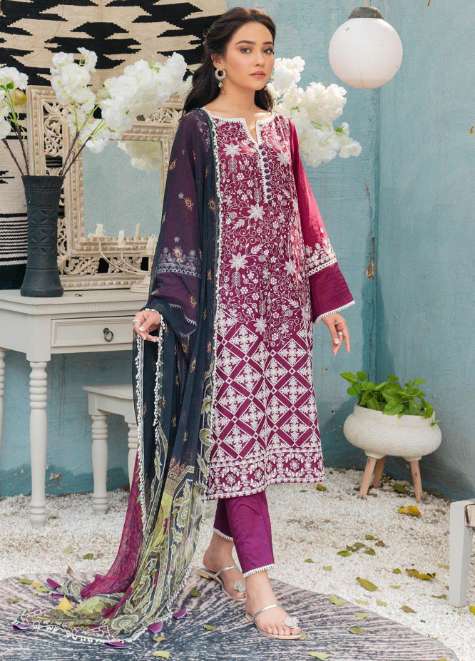 Mahiri By Cross Stitch Embroidered Lawn Suits Unstitched 3 Piece CS21M 01 Amaranth Fresco - Summer Collection