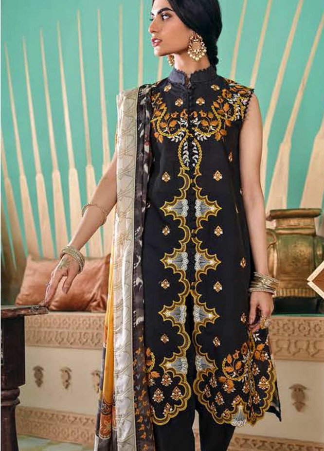 Cross Stitch Embroidered Lawn Suits Unstitched 3 Piece CS21SU 03-CAPULET OLIVE - Luxury Collection