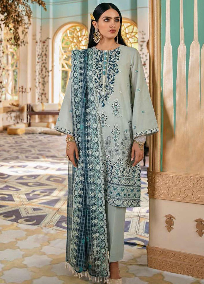 Cross Stitch Embroidered Lawn Suits Unstitched 3 Piece CS21SU 04-CRADLE ASH - Luxury Collection