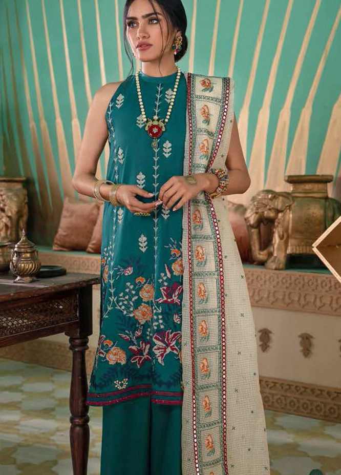 Cross Stitch Embroidered Lawn Suits Unstitched 3 Piece CS21SU 05-DEEP EMERALD - Luxury Collection