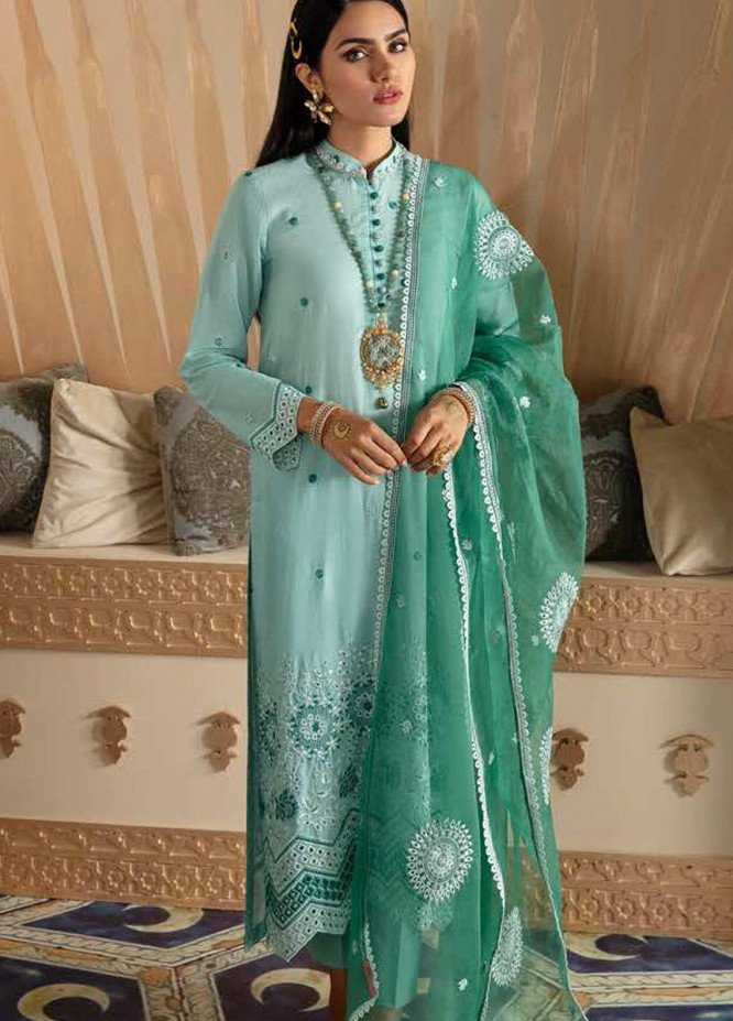 Cross Stitch Embroidered Lawn Suits Unstitched 3 Piece CS21SU 07-INSIGNIA ICEBERG - Luxury Collection