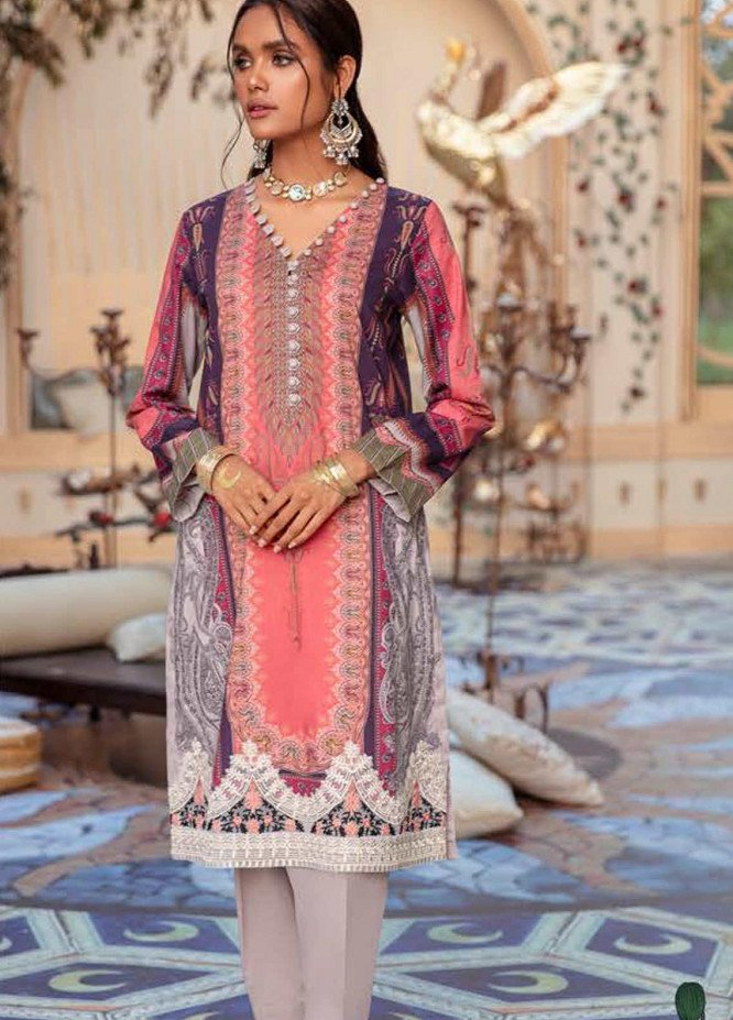 Cross Stitch Embroidered Lawn Suits Unstitched 2 Piece CS21SU 25-PRIWINKLE DUST - Luxury Collection