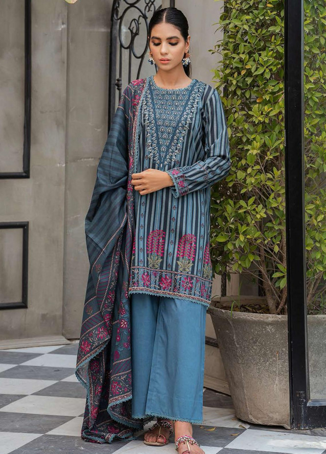Cross Stitch Embroidered Lawn Suits Unstitched 3 Piece CS21SE D-01 BLUE CORROSION - Summer Collection