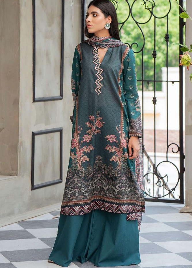 Cross Stitch Embroidered Lawn Suits Unstitched 3 Piece CS21SE D-04 EMERALD STONE - Summer Collection