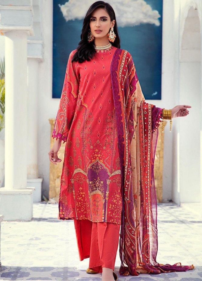 Cross Stitch Printed Lawn Unstitched 3 Piece Suit CS21L 07 ORIENTAL RUST - Summer Collection