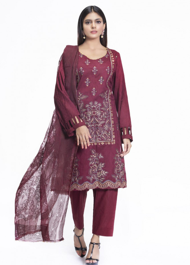 Cyan Embroidered Lawn Suits Unstitched 3 Piece CN21L D-012 - Summer Collection