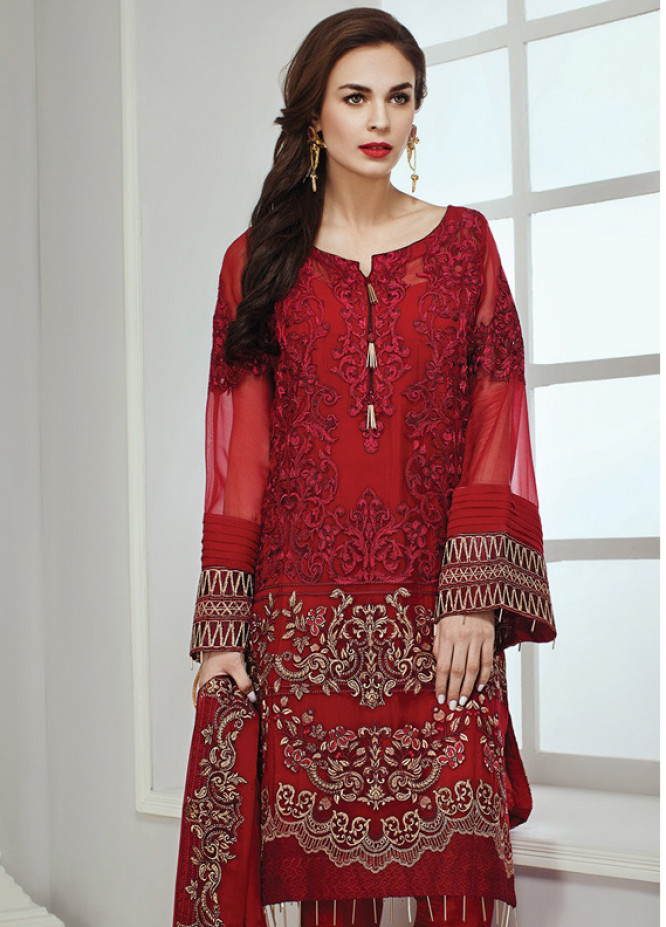 Baroque Embroidered Chiffon Unstitched 3 Piece Suit JZ18C 04 - Chiffon Collection